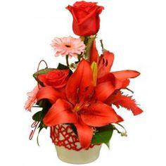 Aranžmán s červenou ľaliou v keramike Plants, Plant, Planets