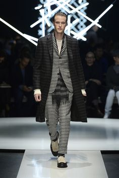 Striped wool #coat over wool bouclé suit, striped angora scarf, leather gloves and two-tone suede Oxfords #CanaliFW15 #FW15 #mfw #moda #menswear #mensfashion