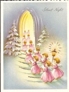 Vintage Christmas Angels Card in Pastels Shabby Chic Christmas, Old Christmas, Old Fashioned Christmas, Christmas Scenes, Retro Christmas, Christmas Angels, Christmas Crafts, Christmas Glitter, Christmas Poinsettia
