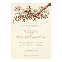 Coral & Gray Vintage Love Birds Wedding Invitation
