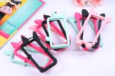 Cute 3D Disney Rabbit Cat Ear Silicone Frame Case Bumper cover for iphone 5s 5C
