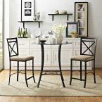 Valerie 3-Piece Black / Beige (Black/Beige) Counter Height Glass and Metal Dining Set
