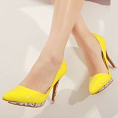 NEW! Lovely Yellow PU Pointed Closed Toe Stiletto High Heel Basic Pumps Pointed Toe Heels, High Heels Stilettos, Pumps, Kitten Heels, Shoes, Yellow, Fashion, Moda, Zapatos