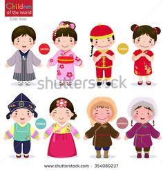 Kids In Traditional Costume; Vietnam, Philippines, Brunei, And Thailand Ilustración vectorial en stock 354103892 : Shutterstock