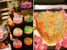 Beautiful decorated individual cakes for wedding, shower birthday party. Wedding Arrangements, Wedding Ceremony Decorations, Wedding Ideas, Wedding Shower Cakes, Wedding Cakes, Mehndi Cake, Mehendi, 1st Anniversary Cake, Fun Cupcakes