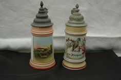 Antique German stein lot, one being a tavern lithophane and paint under glaze (PUG) village Kulshein measuring 10""