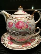 Tea for One Teapot Set with CUP/SAUCER Gilded Rose Bone China Porcelain