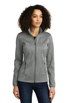 Eddie Bauer Ladies StormRepel Soft Shell Jacket in Black Heather/ Black, add a company logo Custom Polos, Pullover Sweaters, Men Sweater, Soft Shell, Fishing Shirts, Princess Seam, Heather Black, Eddie Bauer, Gray Jacket