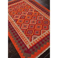 Shop for Flatweave Tribal Pattern Orange/Red Wool Area Rug (9x12). Get free…