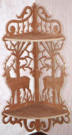 Deer Corner Bracket, scroll saw fretwork pattern