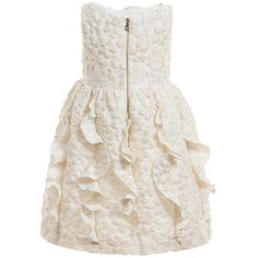 I Pinco Pallino - Ivory Brocade Dress with Ruffle Back