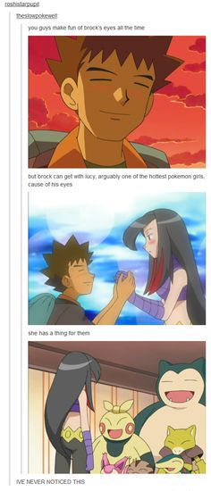 Brock and Lucy. o-o what in the world. lolol. Who ruined it? Was it May?! I need to find this episode and watch it again. *-* I know it's in Hoenn so I'm thinking May..