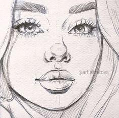 Art Drawings Sketches Simple, Pencil Art Drawings, Realistic Drawings, Drawing Art, Pencil Sketches Of Faces, Portrait Sketches, Face Pencil Sketch, How To Draw Sketches, Drawings Of Girls Faces