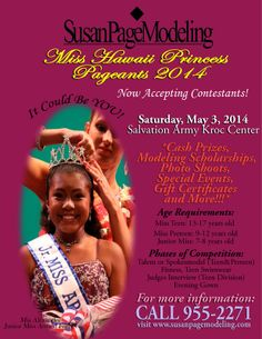 Makakilo, HI Reserve your area title today to represent your city in this Pageant! Ages 7-17. Sponsorship opportunities are available!  Click & zoom flyer for details.  www.susanpagemodeling Click flyer for more >>