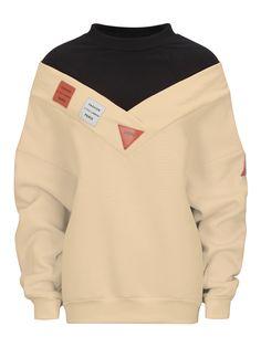 Beige High Neck Patch Detail Long Sleeve Boyfriend Sweatshirt