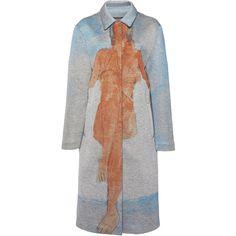 Emanuel Ungaro     Printed Long Coat ($2,200) ❤ liked on Polyvore featuring outerwear, coats, blue, blue coat, christopher kane, longline coat, long sleeve coat and long coat