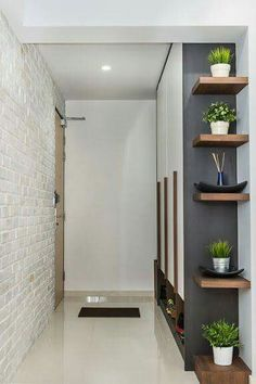 4 Marvelous Cool Tips: Rustic Floating Shelves Modern floating shelf design spaces.Floating Shelves Bedroom The Doors floating shelf laundry subway tiles. Regal Design, Small Hallways, Interior Decorating, Interior Design, Decorating Ideas, Decor Ideas, Small Hallway Decorating, 31 Ideas, Deco Design