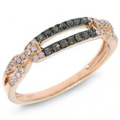 0.23ct 14k Rose Gold White and Champagne Diamond Ladies Ring