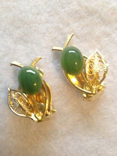 Vintage Jadeite  Gold Plate Filigree Leaf by CoCoBlueTreasures,