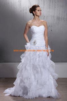 A-linie Schöne Elegante Brautkleider aus Organza mit Schleppe