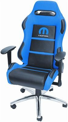 Blue/Black Racing Office Chair with Mopar logo - Free Shipping on Orders Over $99 at Genuine Hotrod Hardware