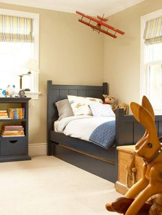 Happy Campers. Classic navy blue with beige and gold. Great color scheme for boys bedroom.