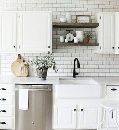 Fantastic modern kitchen room are offered on our web pages. Take a look and you wont be sorry you did. Kitchen Sink Decor, Farmhouse Sink Kitchen, Modern Farmhouse Kitchens, White Kitchen Cabinets, Diy Kitchen, Home Kitchens, Kitchen Ideas, Farmhouse Ideas, Farmhouse Design