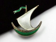 VINTAGE NORWAY IVAR T. HOLTH 925 STERLING SILVER & ENAMEL SHIP PIN