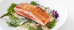 Sesame-crusted salmon fillets with potato and asparagus salad recipe, bought to you by MiNDFOOD.
