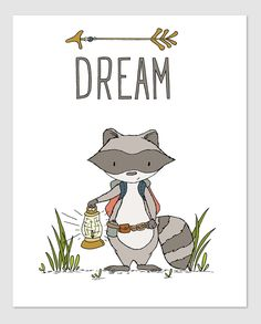 Woodland Nursery Art - Raccoon Dream