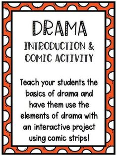 This products is perfect for introducing drama as a genre and teaching students the basics of it. It also includes an activity using comic strips to help students use the elements of drama on their own. Elements Of Drama, Drama Activities, Middle School Ela, Student Teaching, Comic Strips, Students, Comics, Music, Room