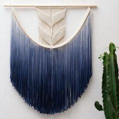 Macrame wall hanging with 'dip dyed' tassles