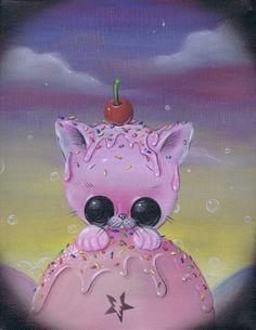 Sugar Fueled Pink Pity Kitty Kitten Cat Animal Ice Cream Sweets Pop Surrealism Lowbrow creepy cute big eyes eye art print
