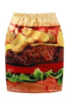 Hamburger Print Bodycon Skirt
