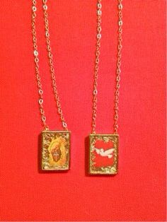 Scapular Necklace, Dove, Sacred Heart, Religious on Etsy, $49.00