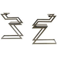 Set of Two Sculptural Zigzag Chairs by Gerard Kuijpers