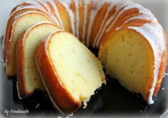 Lemon bundt cake (Ina Garten). Deliciously lemony. Quick and easy to make. Butter-free. Gets even better the next day.