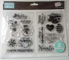 Marcella by K Seasonal Clear Rubber Stamps 15 piece Scrapbook Paper Crafting NIP #MarcellabyK #Background