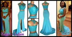 Light turquoise applique lace matric dance dress with a slit and a train and an illusion neckline. Matric Farewell Dresses, Matric Dance Dresses, Prom Dresses, Prom Dance, Illusion Neckline, Light Turquoise, Fashion Company, Dress Making, Lace Dress