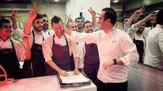El cocinero madrileño Mario Sandoval, del restaurante Coque, celebrando su segunda Estrella Michelin.  http://www.telemadrid.es/programas/aqui-en-madrid/segunda-estrella-michelin-para-mario-sandoval