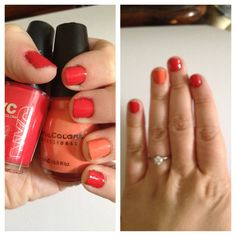 """NYC Quick Dry Polish in """"Times Square"""" with Sinful Colors in """"Hazard"""" as an accent nail :) Love this combo."""