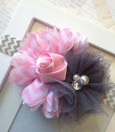 Pink and Grey chevron headbandflower headbandgirls by Abelialane, $10.95
