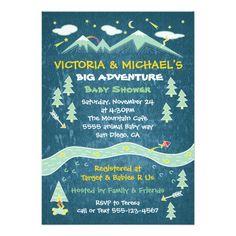 Big adventure rustic mountain folk art baby shower 5x7 paper invitation card