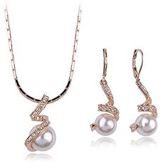 Spiral Pearl Pendant  Earrings Jewelry Set Rose Gold Plated Made With Swarovski Elements Crystal -- Be sure to check out this awesome product.