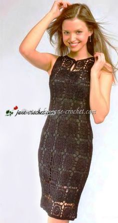 Openwork motifs black dress1