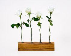 Wood Vase Decorative Wedding Vase Glass Bud Vases by lessandmore, $78.00