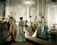 Photograph by Cecil Beaton. Models in dresses by Charles James, Vogue, 1948.
