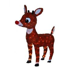 26 in. 100-Light Soft Tinsel 3D Rudolph with Blinking Red Nose $40.48