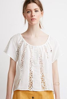 52723170 Contemporary Crochet-Paneled Peasant Top Peasant Tops, Latest Top Designs,  Latest Tops,