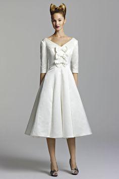 Sleeved V-neck Satin Tea-length Wedding Dress With Petticoat And Bow Detail #wedding_dress #short_wedding_dress #wedding #lovely